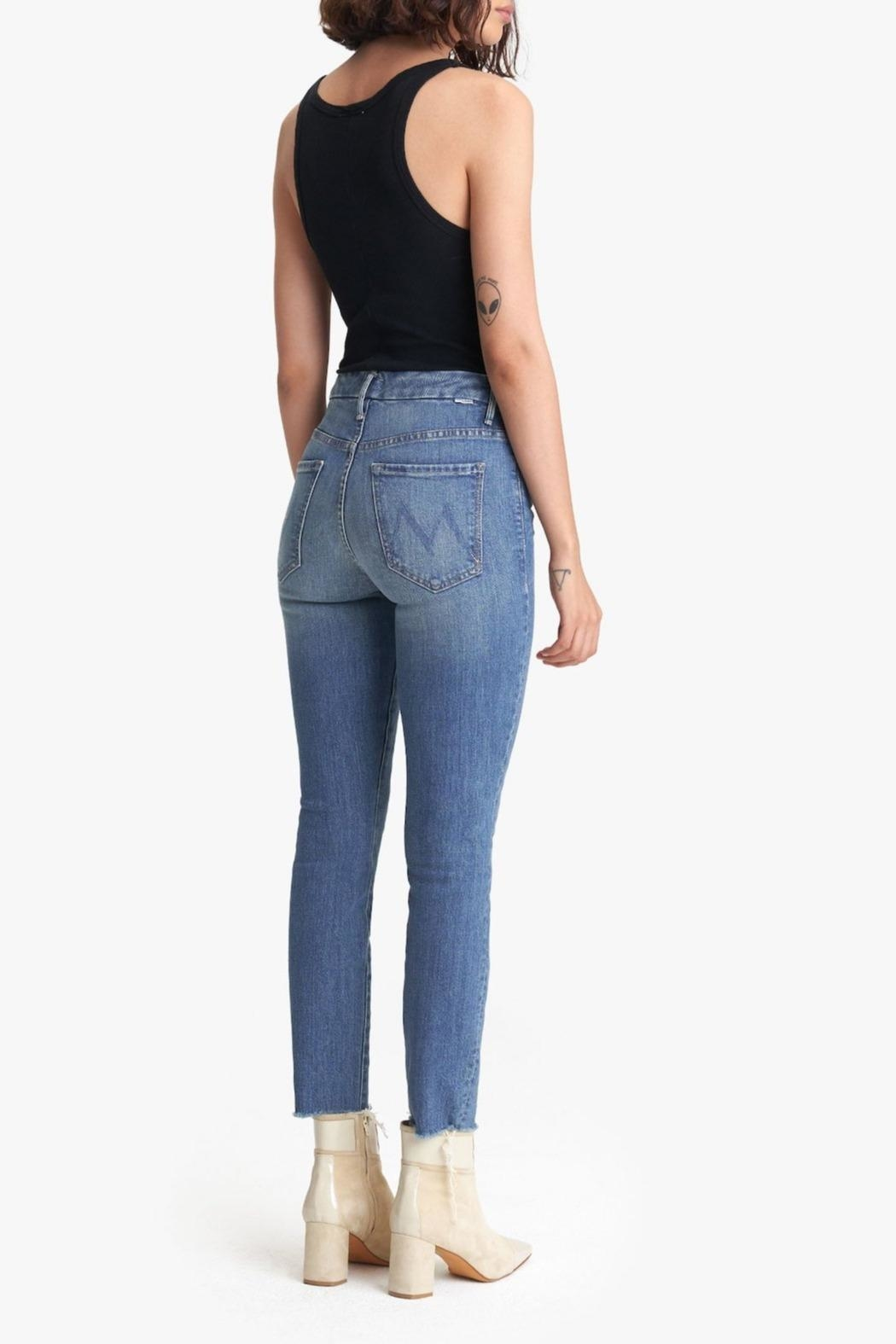 Mother High-Waisted Looker Ankle-Fray - Side Cropped Image
