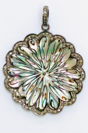 The Woods Fine Jewelry  Mother of Pearl Fillagre Flower Pendant - Product Mini Image
