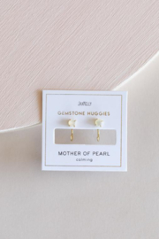 JaxKelly Mother of Pearl Huggies - Side cropped