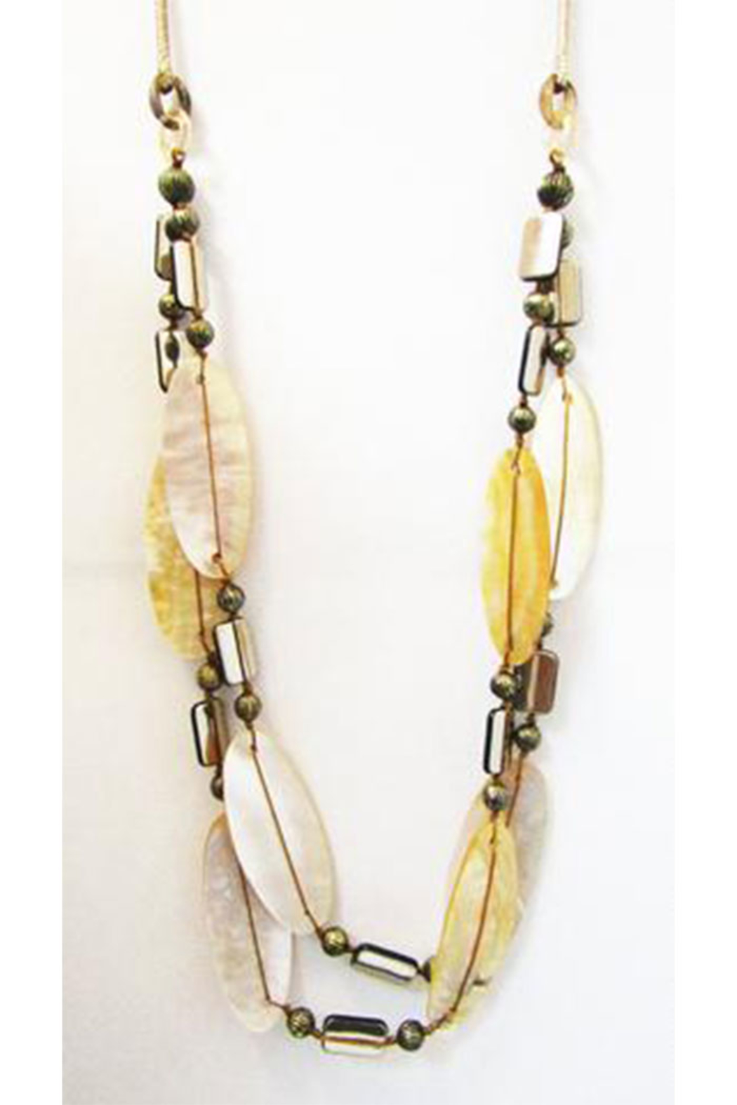 Int'l Duru Mother Of Pearl Shells 2-Strand Necklace - Front Full Image
