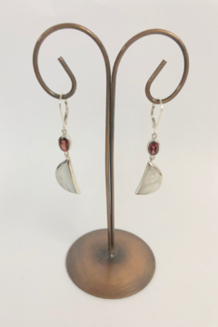 ACleoni Mother of Pearl w garnet Earrings - Alternate List Image