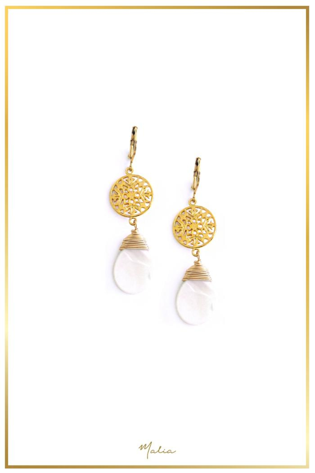 Malia Jewelry Mother Pearl Earrings - Front Cropped Image