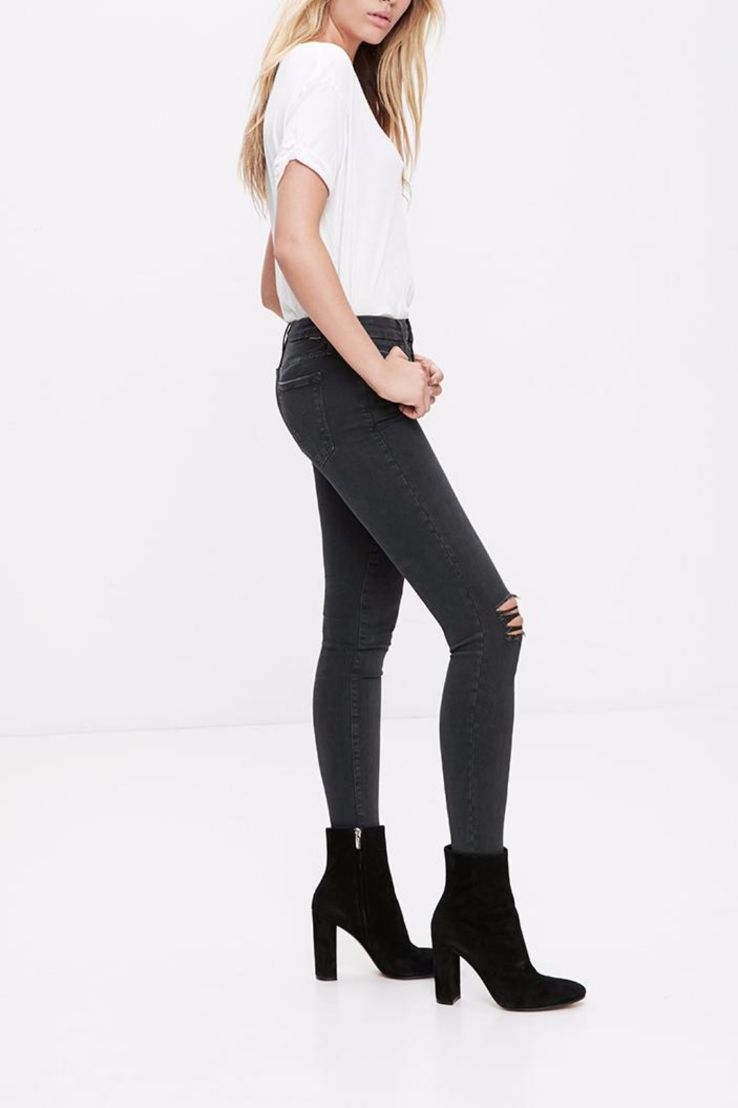 Mother Denim Looker Faded Black - Front Full Image