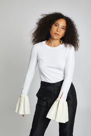 Mother of Pearl Alex Ruffle Top White - Front cropped