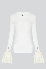 Mother of Pearl Alex Ruffle Top White - Front full body