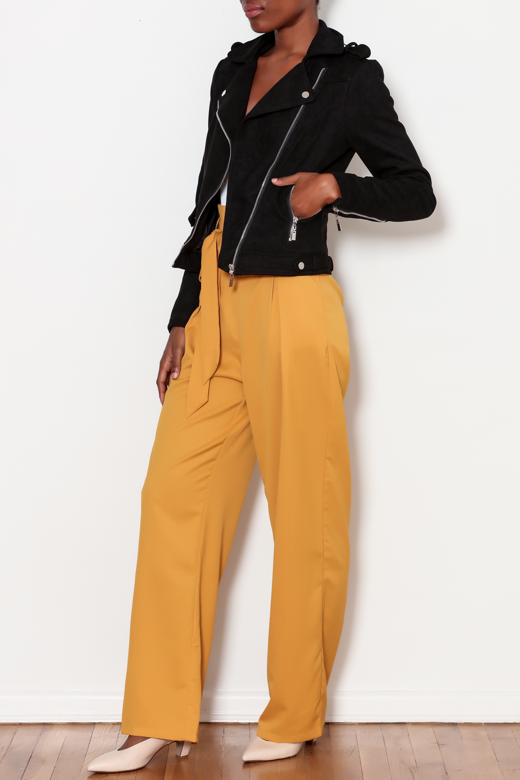 love token Moto Jacket with Lace Up Detailing - Side Cropped Image