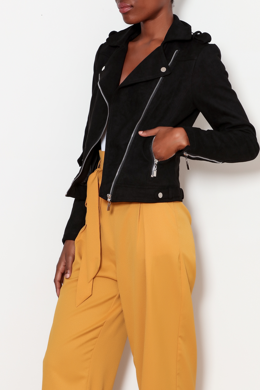 love token Moto Jacket with Lace Up Detailing - Main Image