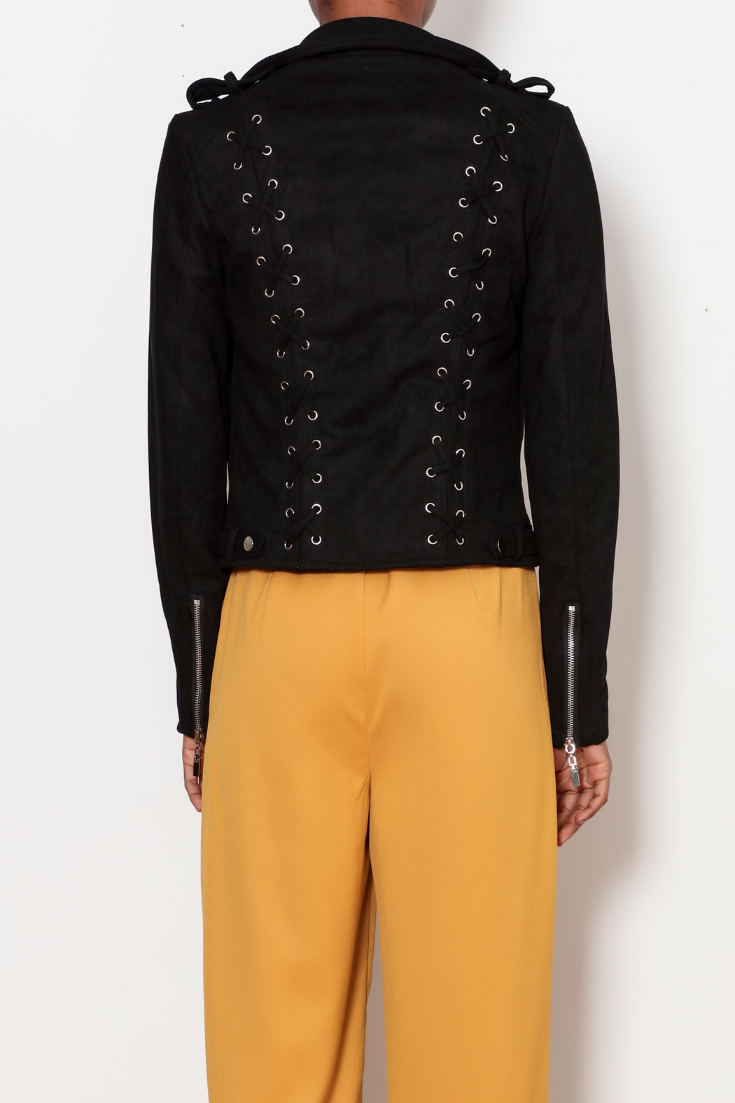 love token Moto Jacket with Lace Up Detailing - Back Cropped Image
