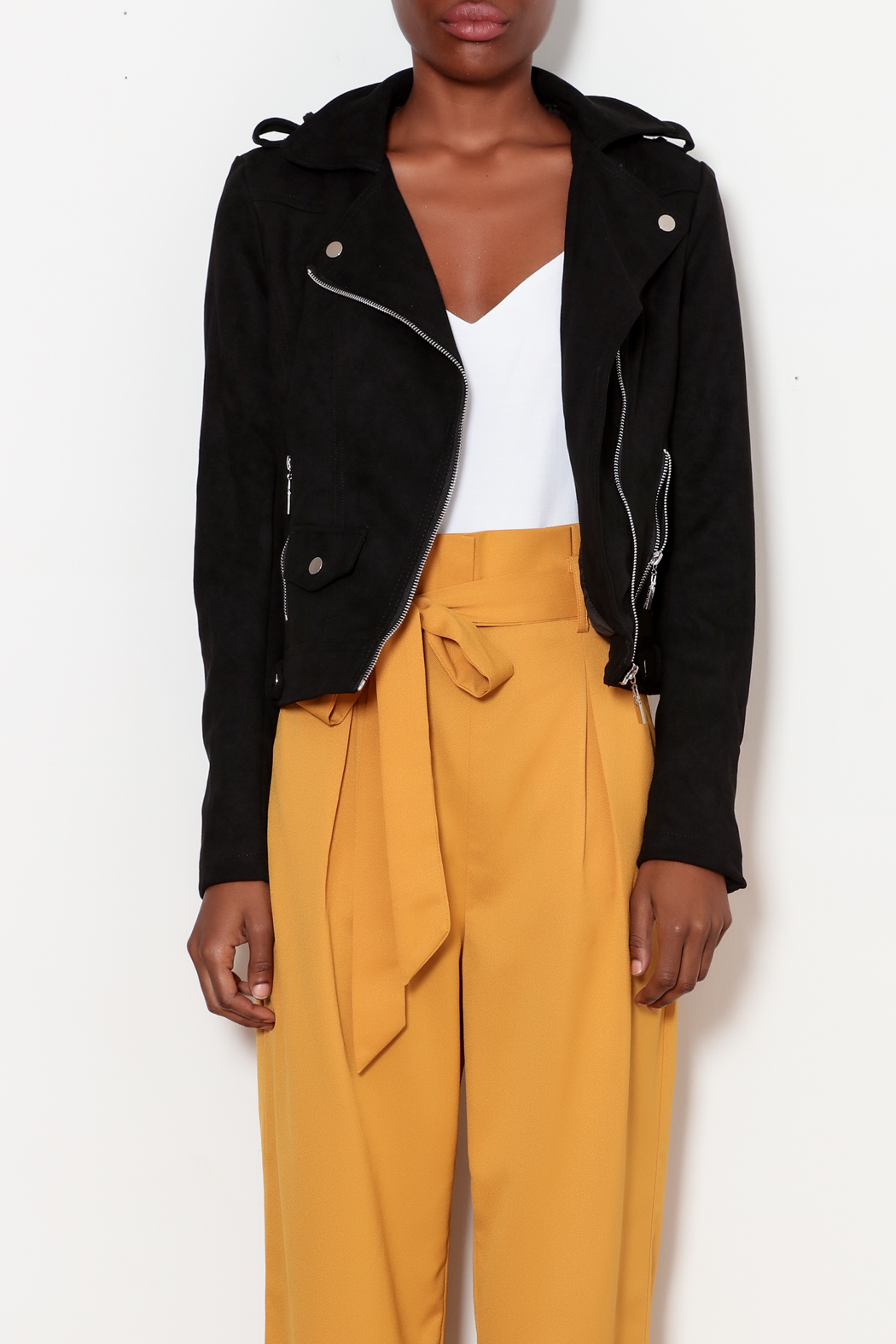 love token Moto Jacket with Lace Up Detailing - Front Full Image