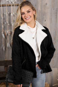Shoptiques Product: Moto Jacket With Sherpa Fur