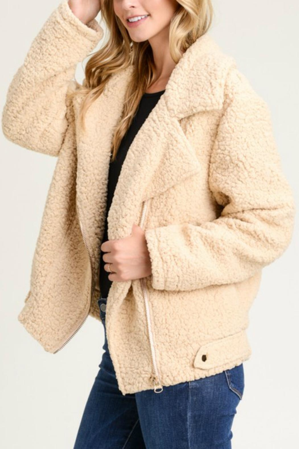 Pretty Little Things Moto Teddy Coat - Front Cropped Image