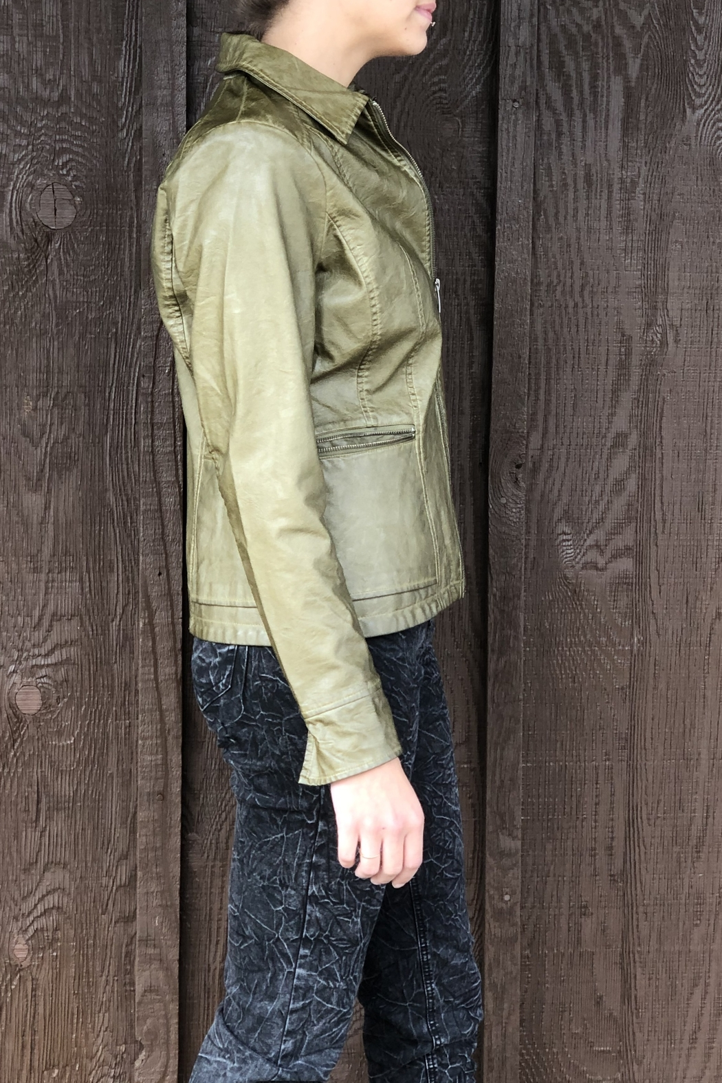 French Dressing Jeans Moto Zip Jacket - Side Cropped Image