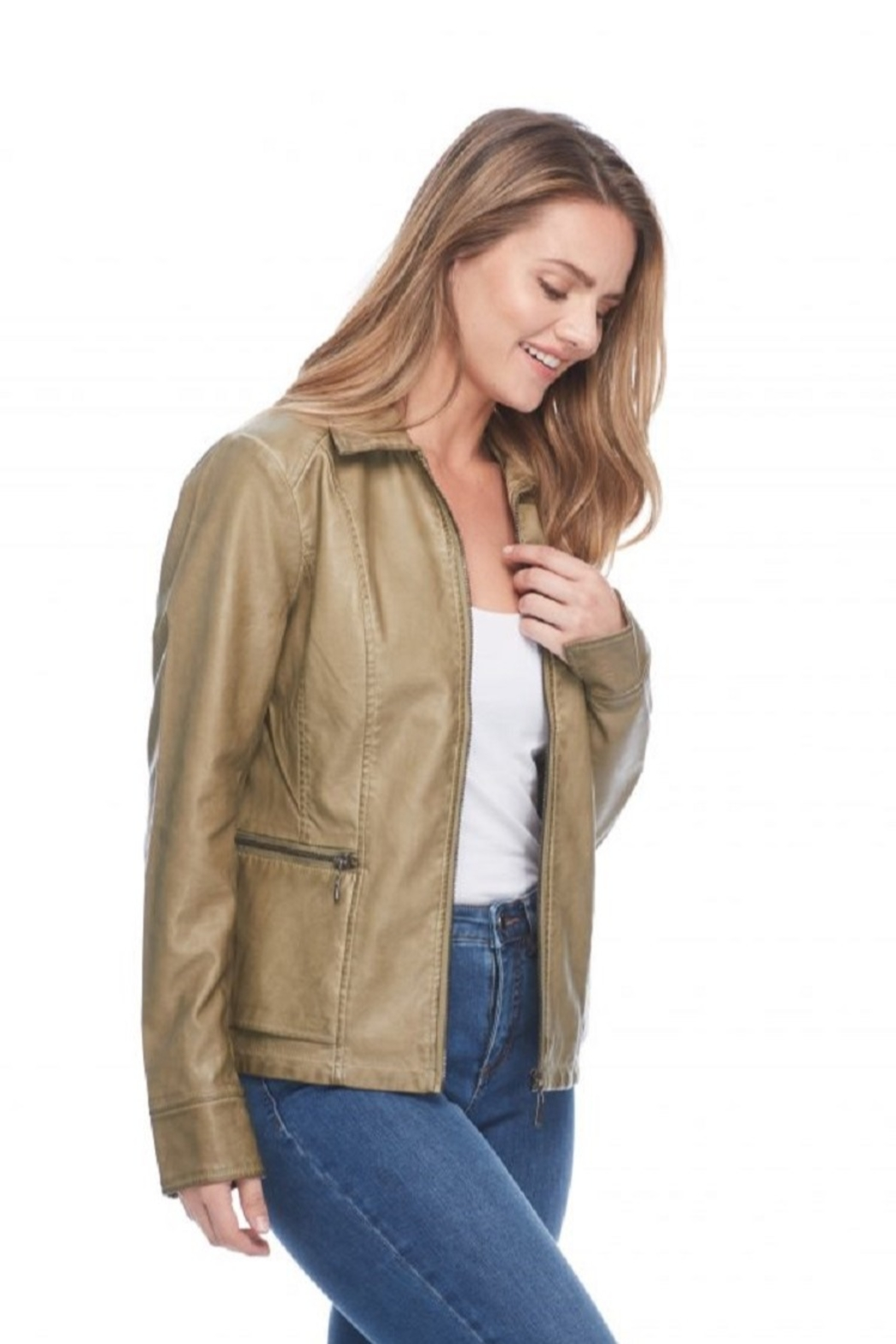 French Dressing Jeans Moto Zip Jacket - Front Full Image