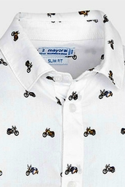 Mayoral Motorcycle Theme Button-Down-Shirt - Front full body
