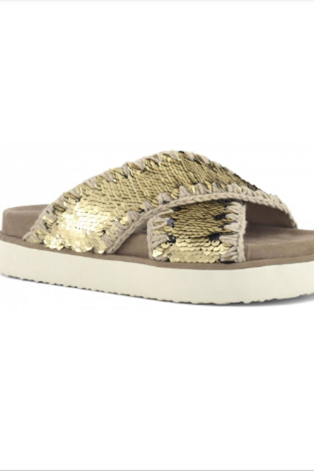 MOU  Criss Cross Bio Sandal Plain Gold - Front Full Image