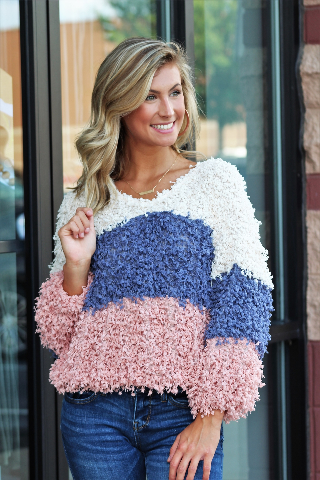 Blu Pepper Mountain Air Colorblock Sweater - Front Full Image