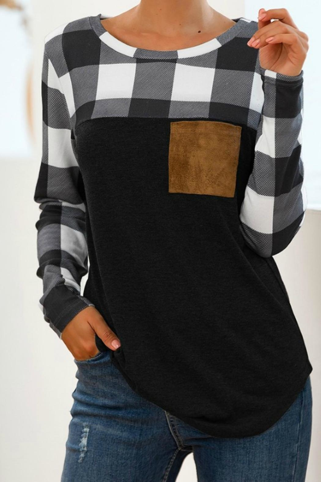 Mountain Valley Plaid Patchwork Top - Main Image