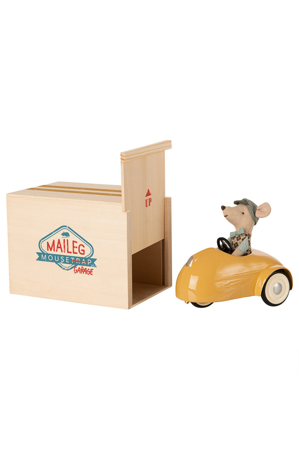 Maileg Mouse Car With Garage - Yellow - Main Image