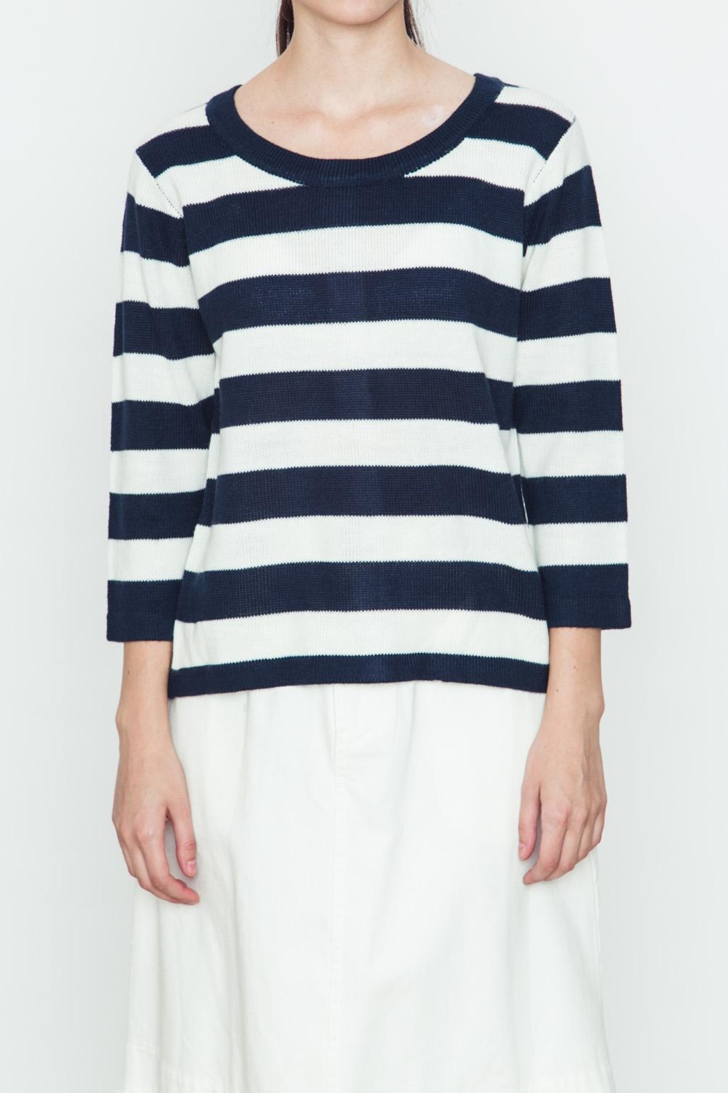 Movint Back Buttoned Striped Sweater - Main Image