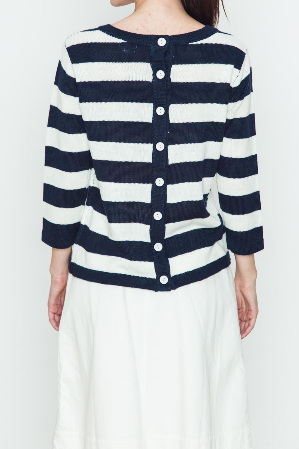 Movint Back Buttoned Striped Sweater - Side Cropped Image