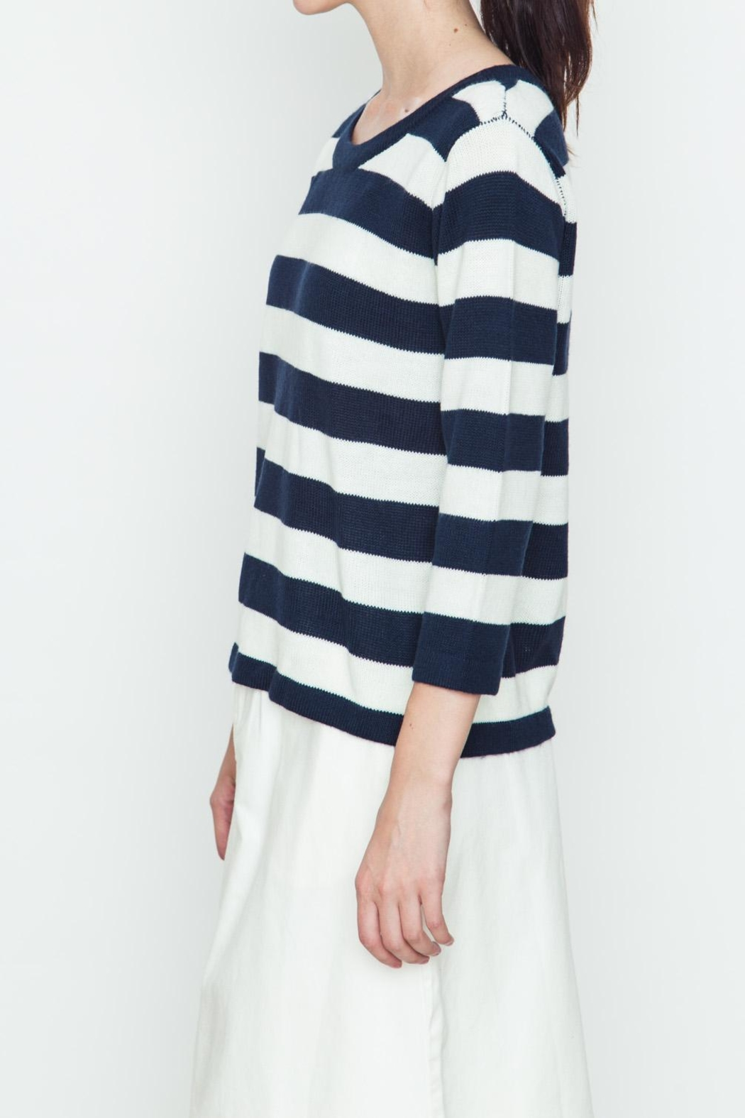 Movint Back Buttoned Striped Sweater - Front Full Image