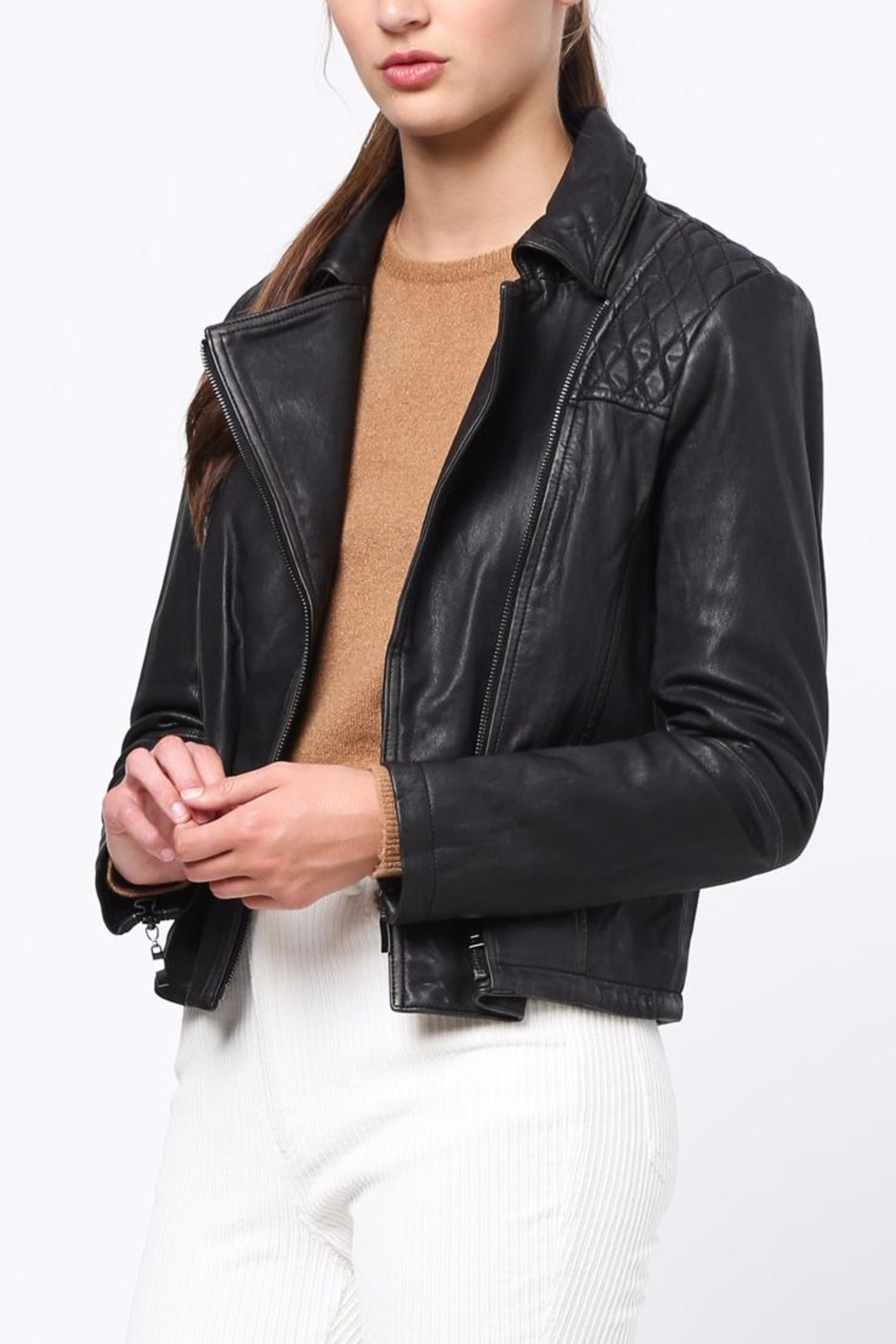 Movint Bike Leather Jacket - Side Cropped Image