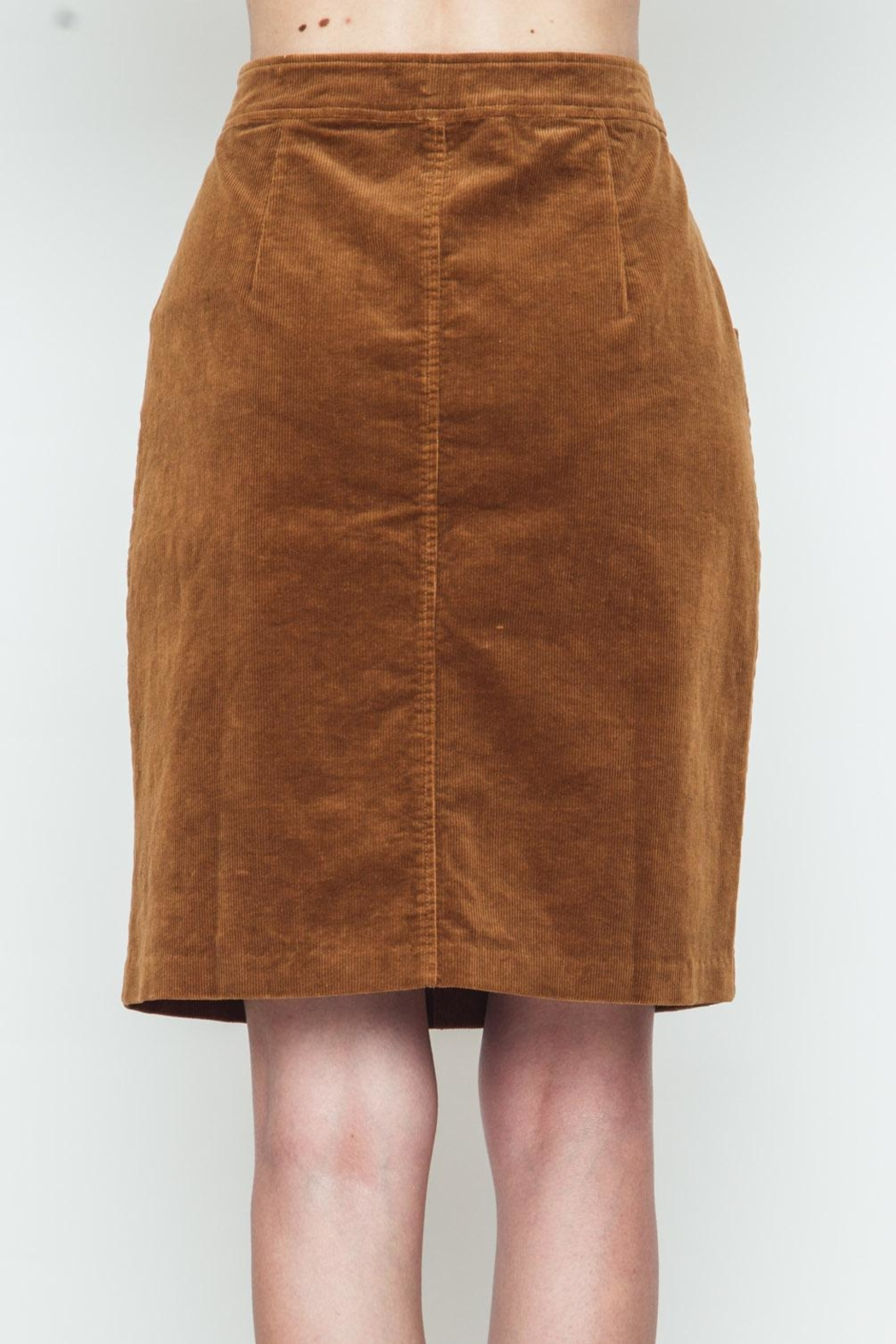 Movint Button Down Camel Skirt - Side Cropped Image