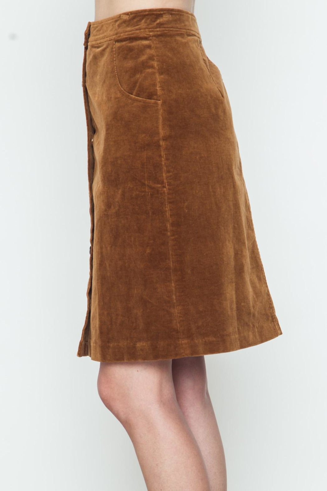 Movint Button Down Camel Skirt - Front Full Image