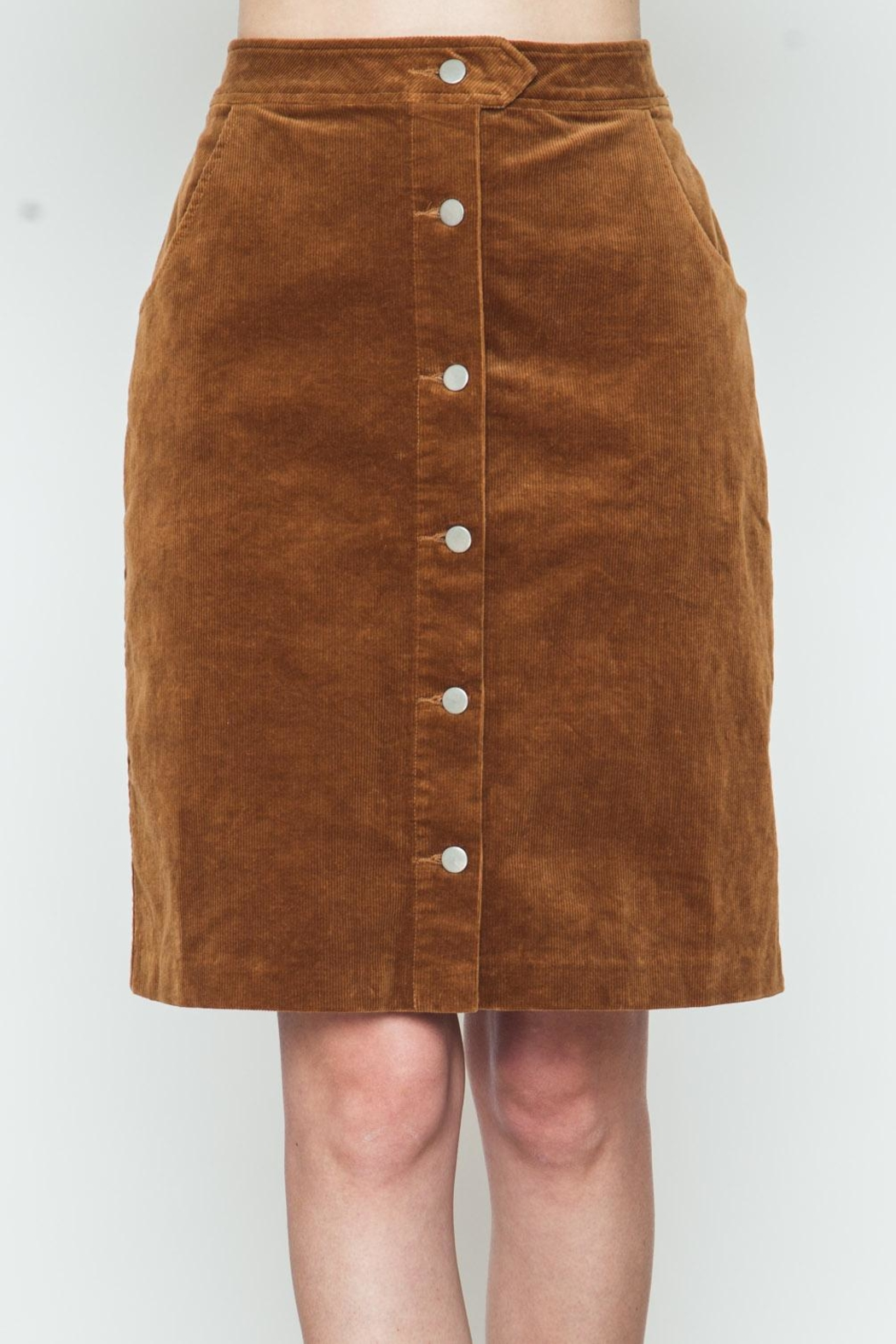 Movint Button Down Camel Skirt - Main Image