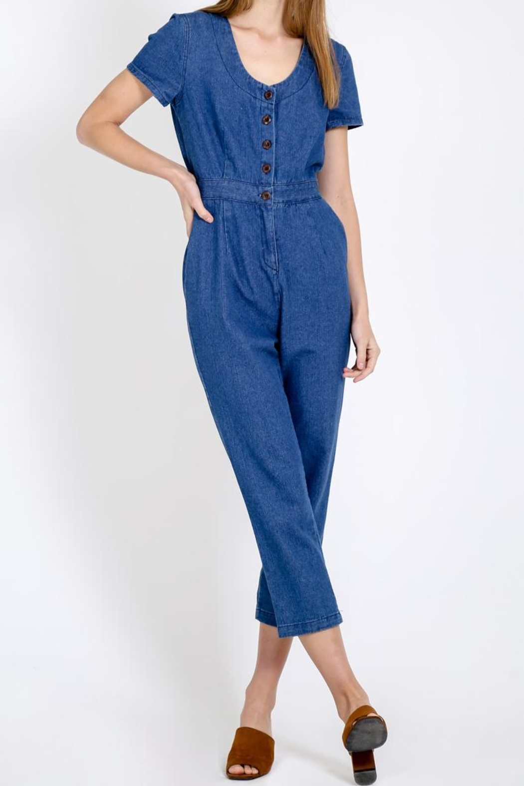 Movint Button Down Jumpsuit - Front Full Image
