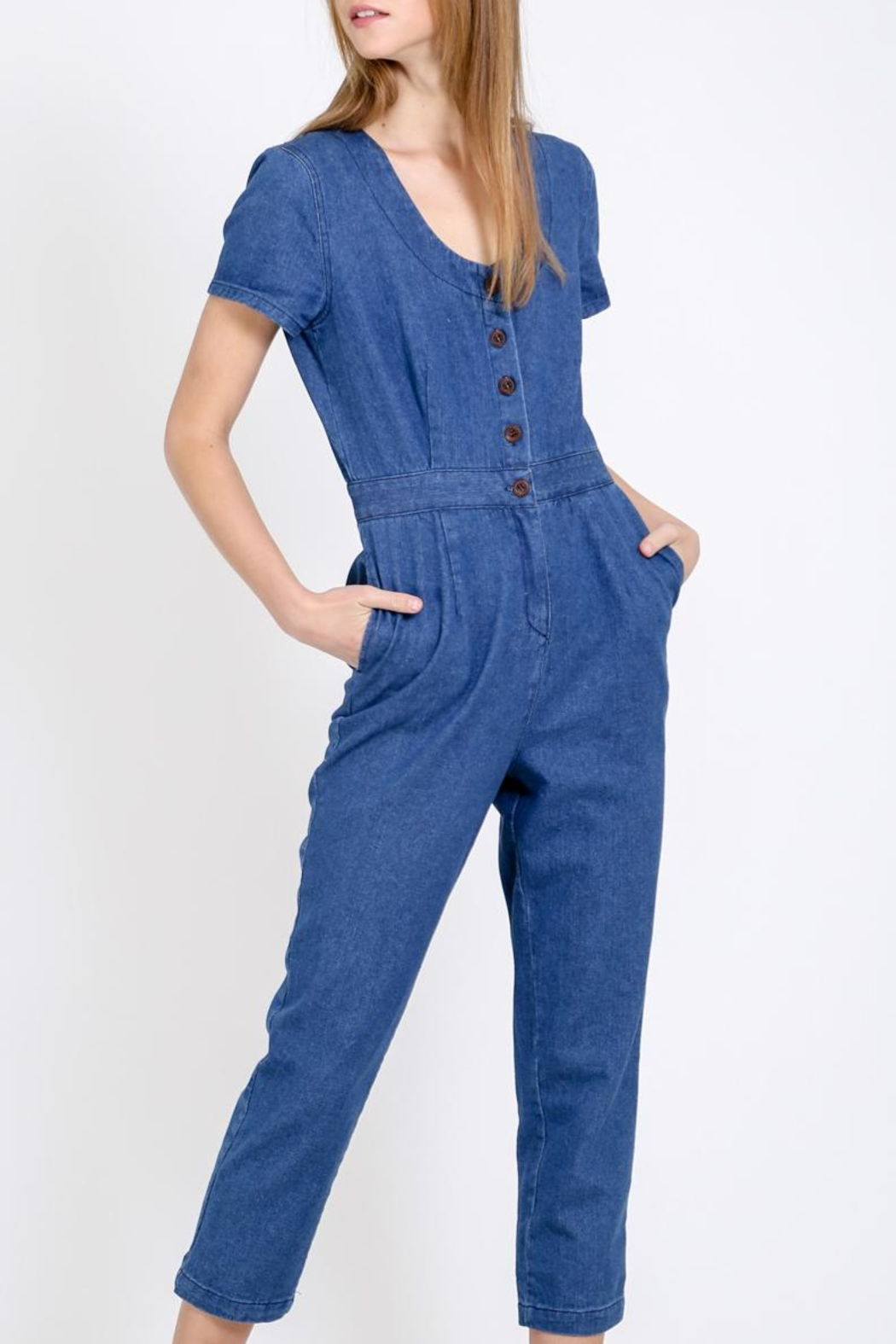 Movint Button Down Jumpsuit - Front Cropped Image
