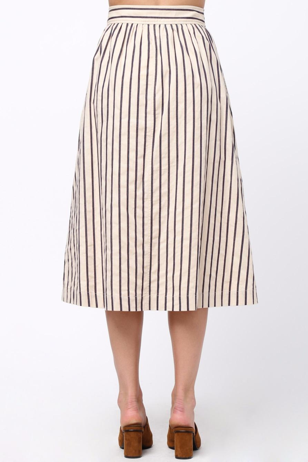 Movint Button-Front-Striped Long-Skirt With-Pocket - Front Full Image