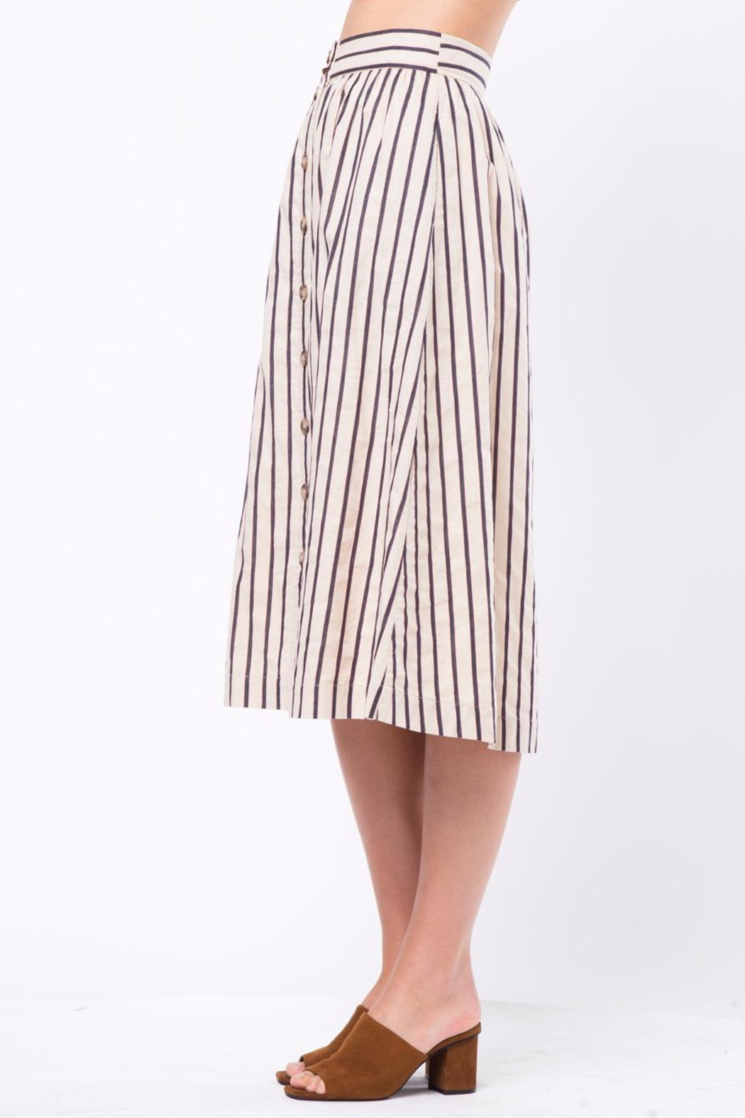 Movint Button-Front-Striped Long-Skirt With-Pocket - Side Cropped Image