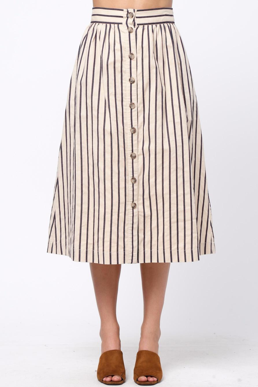 Movint Button-Front-Striped Long-Skirt With-Pocket - Main Image