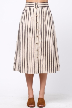 Shoptiques Product: Button-Front-Striped Long-Skirt With-Pocket