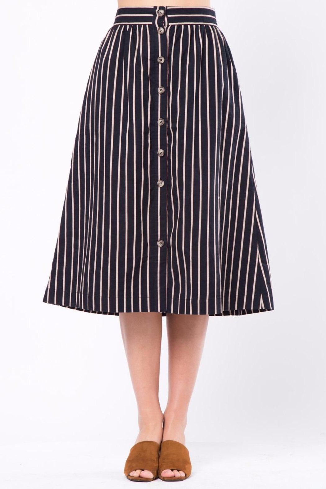 Movint Button-Front-Striped Long-Skirt With-Pocket - Front Cropped Image