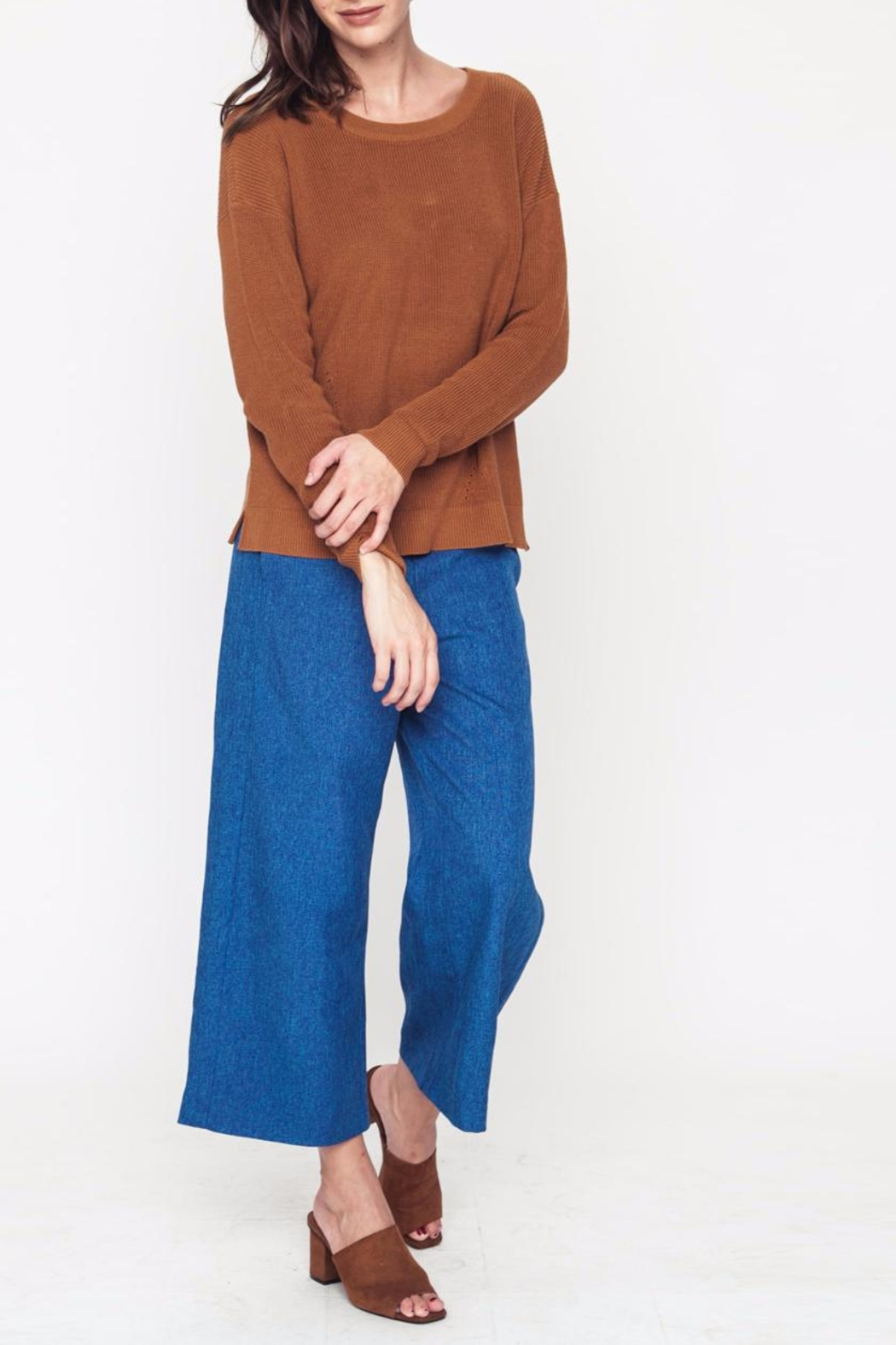 Movint Button Trim Pants - Side Cropped Image