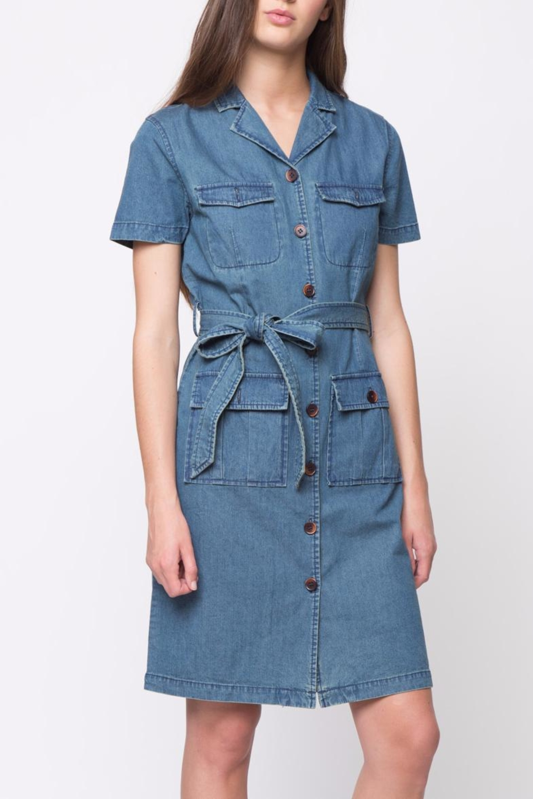 Movint Short Sleeve Denim Dress - Main Image