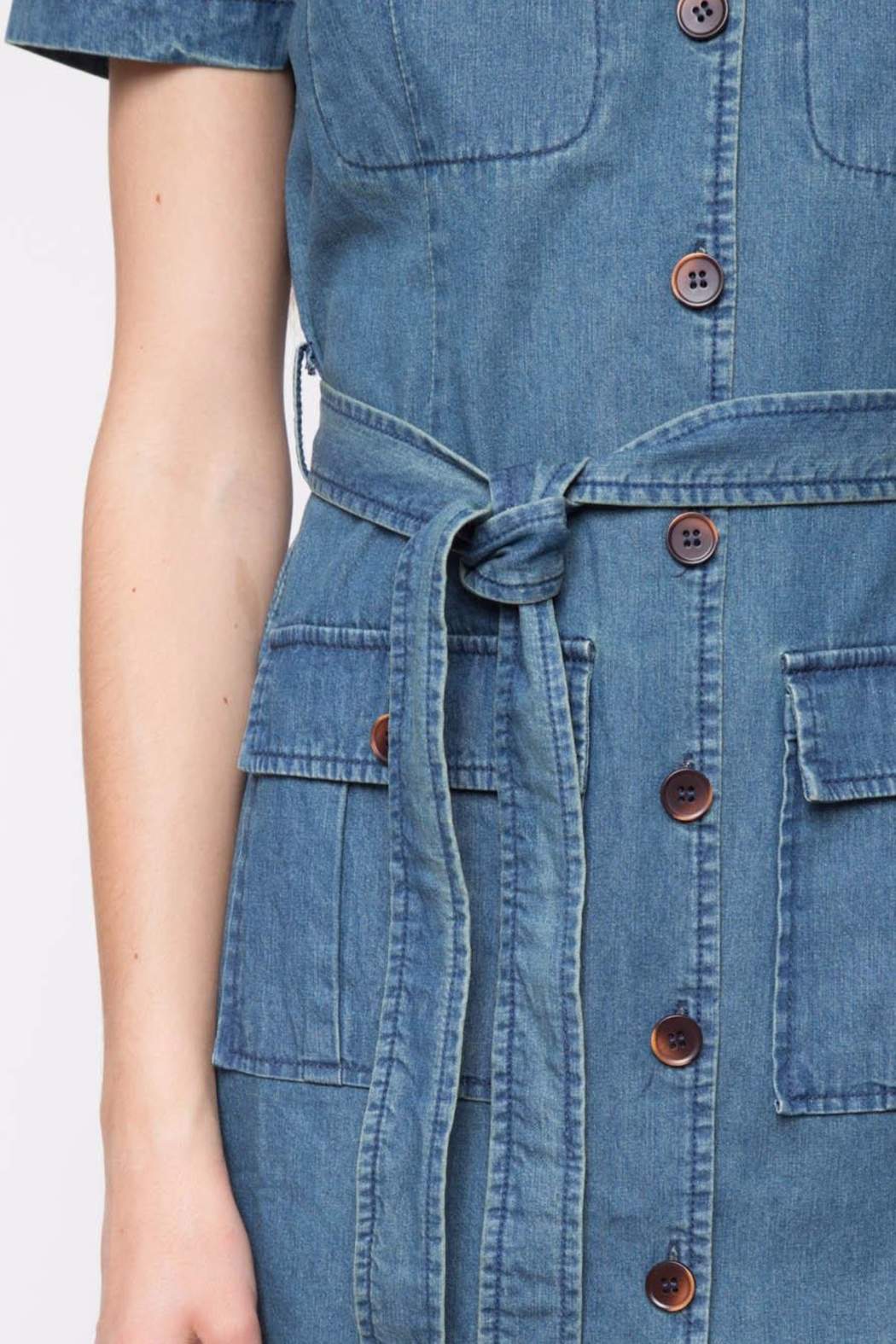 Movint Short Sleeve Denim Dress - Back Cropped Image