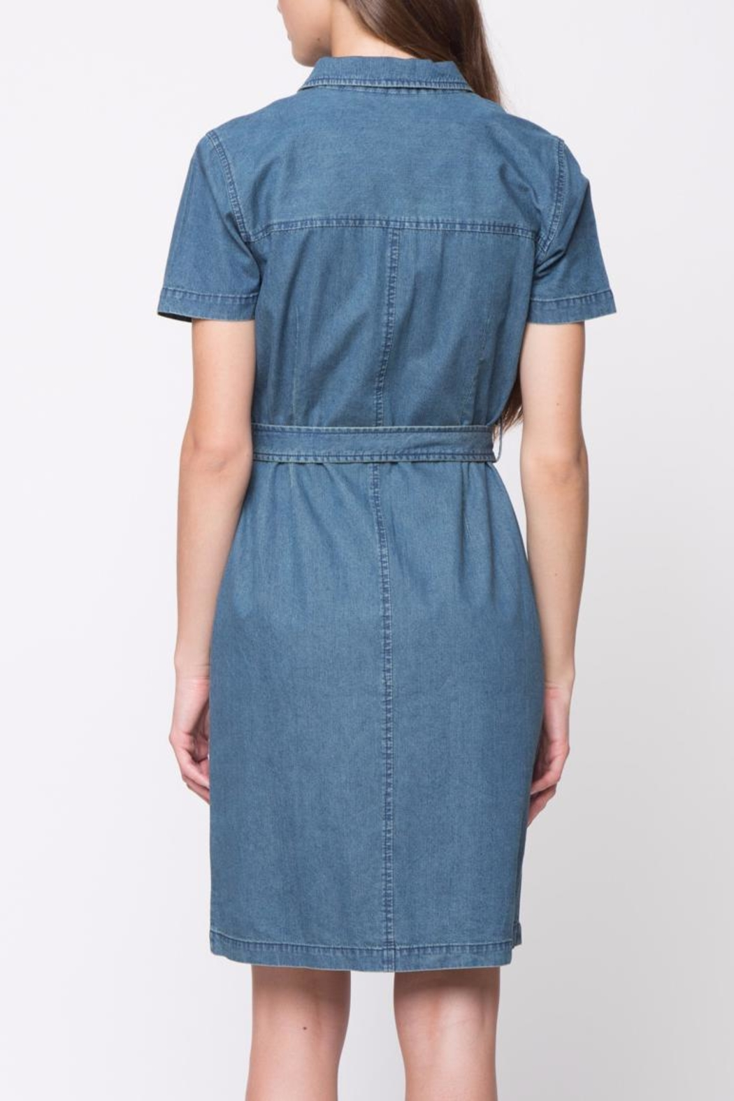 Movint Short Sleeve Denim Dress - Front Full Image