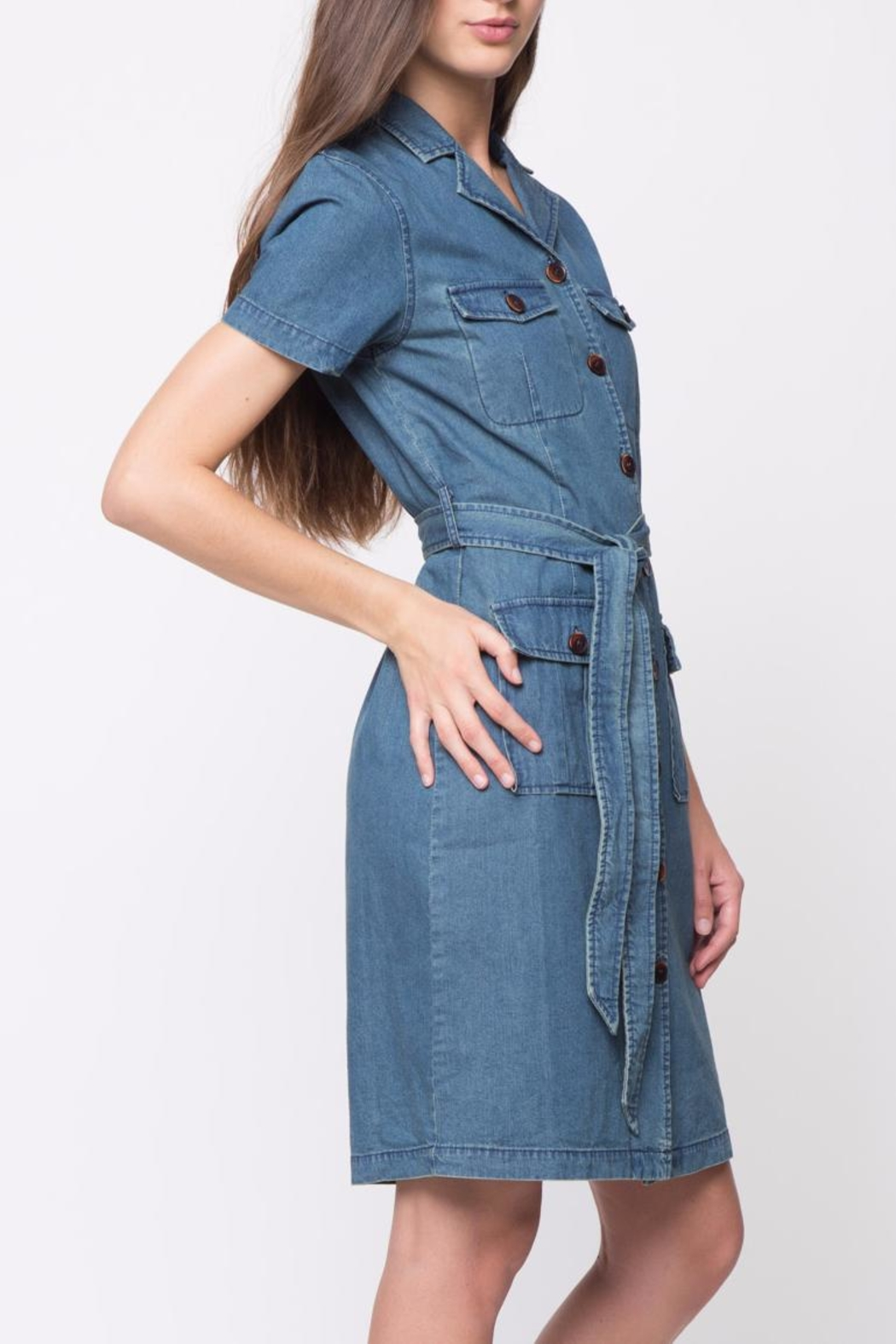 Movint Short Sleeve Denim Dress - Side Cropped Image