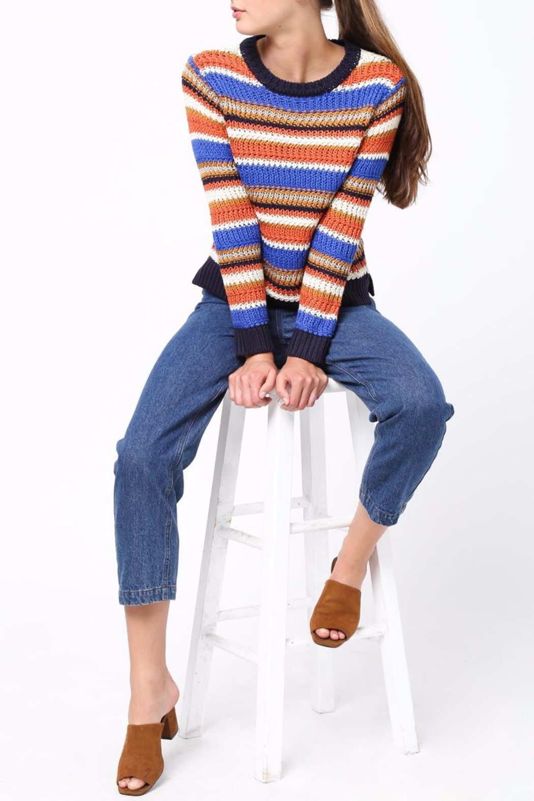 Movint Color Block Sweater - Back Cropped Image