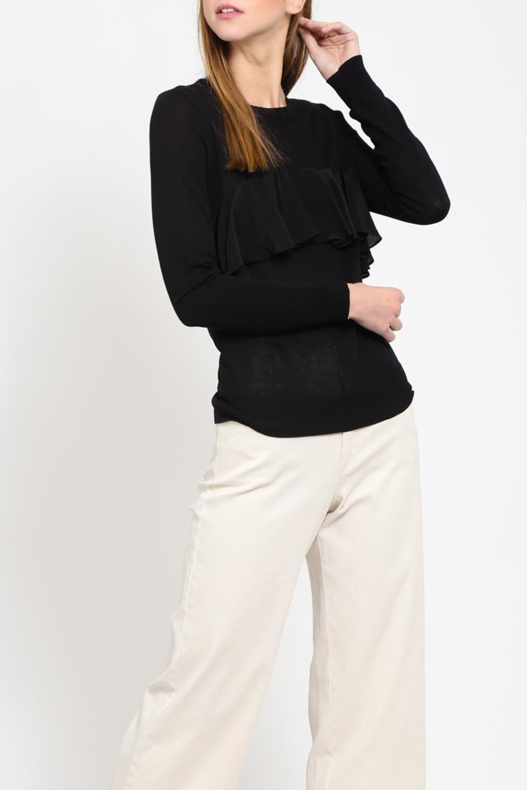 Movint Contrast Ruffle Sweater - Front Full Image