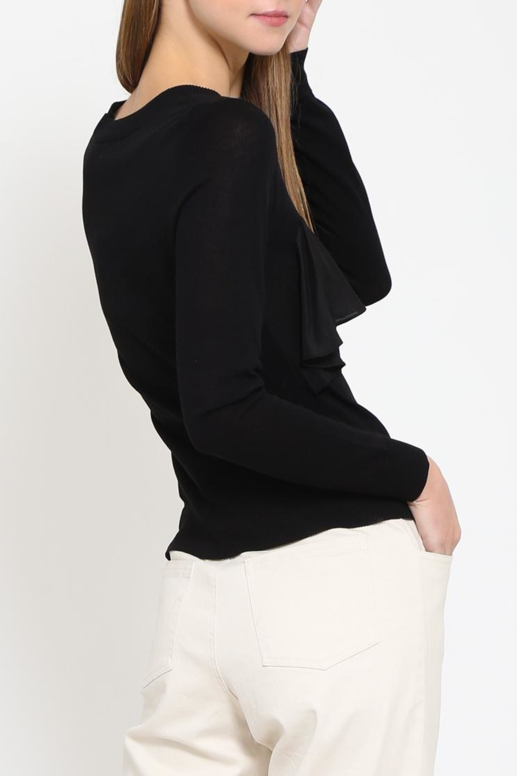 Movint Contrast Ruffle Sweater - Side Cropped Image
