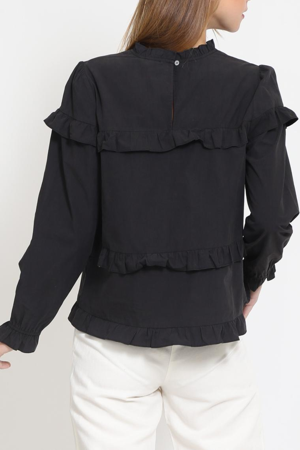 Movint Cotton Ruffle Top - Side Cropped Image