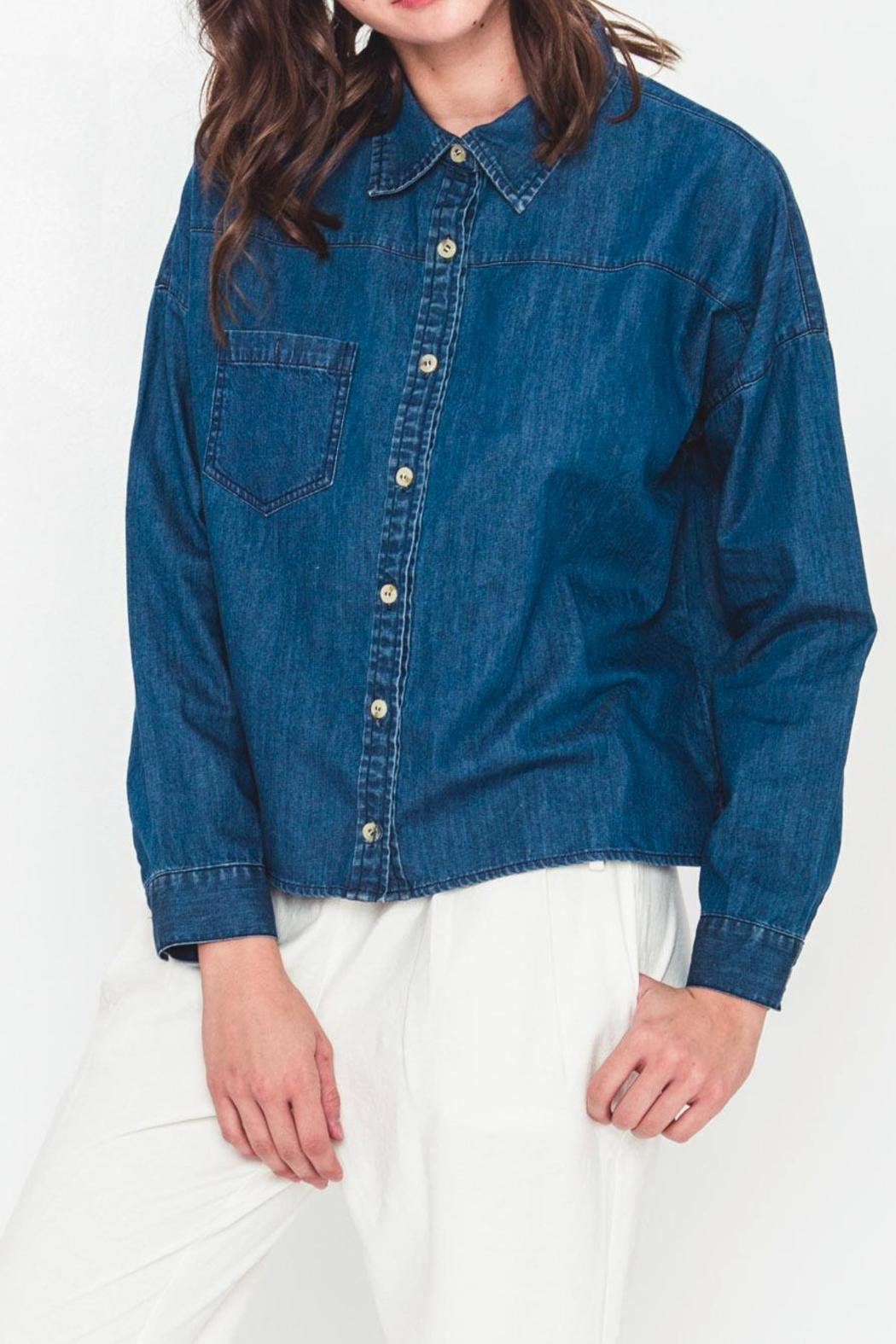 Movint Cropped Denim Top - Side Cropped Image