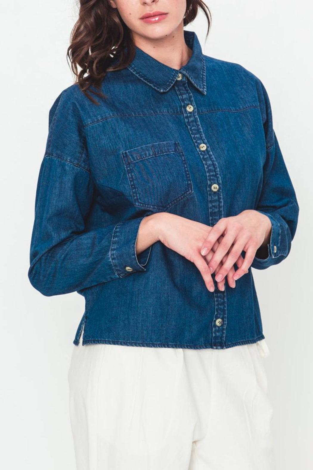 Movint Cropped Denim Top - Front Full Image