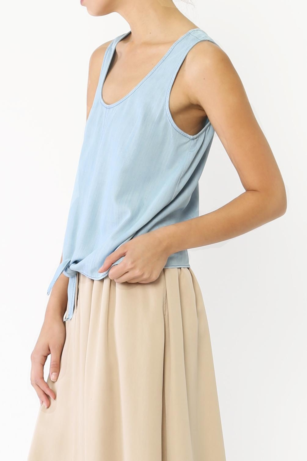 Movint Denim Tie Tank Top - Front Full Image