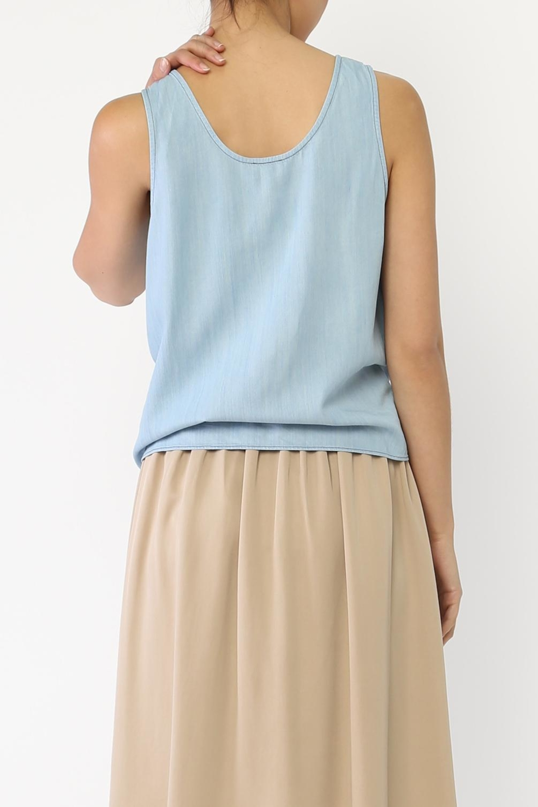 Movint Denim Tie Tank Top - Side Cropped Image