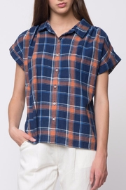 Movint Denim Plaid Sleeve Shirts - Front cropped